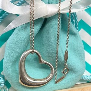 Tiffany silver Large open heart pendant necklace